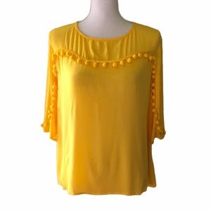 ALYTHEA Sz M Yellow SS Fringe Balls Top Blouse